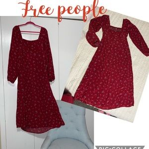 Free people maxi red combo dress